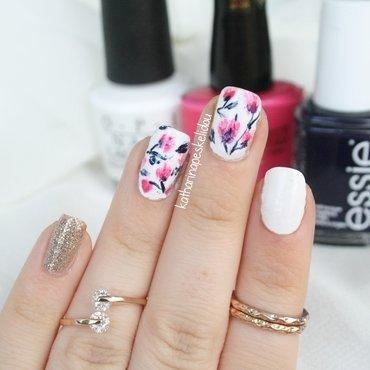 Magnolias nail art by katharinapeskelidou