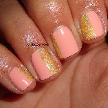 Peach & gold nail art by Jessica