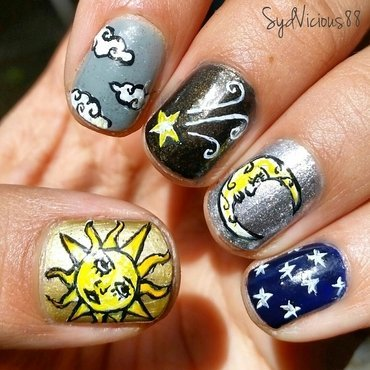 Sun, Moon, and Sky nail art by SydVicious
