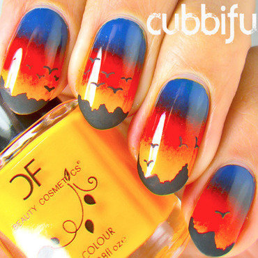 Sunset and Landscape Nail Art nail art by Cubbiful
