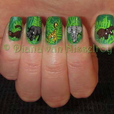 In the jungle..the mighty jungle.. nail art by Diana van Nisselroy