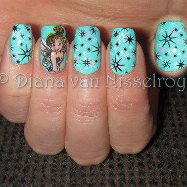 Tinker Bell and stars nail art by Diana van Nisselroy