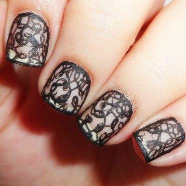 Matte Lace nail art by Melany Antelo