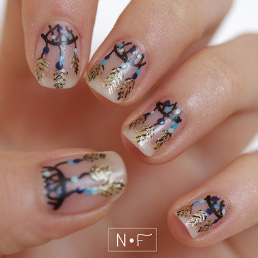 Dreamcatcher nails nail art by NerdyFleurty