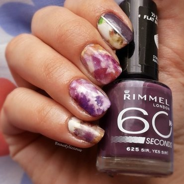 Purple water decals nail art by Roxy Ch
