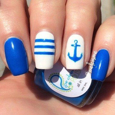 nautical design nail art by Melissa