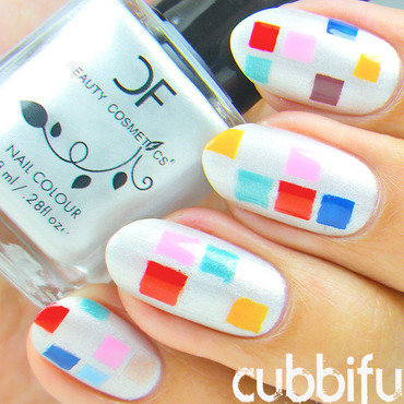 Colourful Squares Nails nail art by Cubbiful