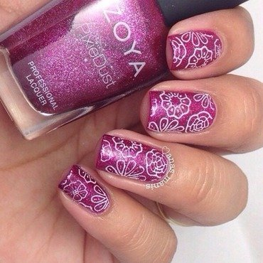 Stamped flowers nail art by anas_manis
