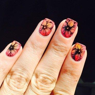 Hawaiian flowers  nail art by Ashley