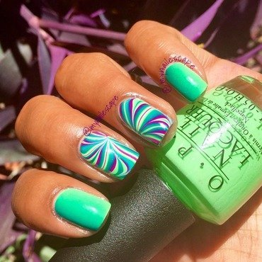 Vertical Gradient & Half Swirl nail art by Alayna  B