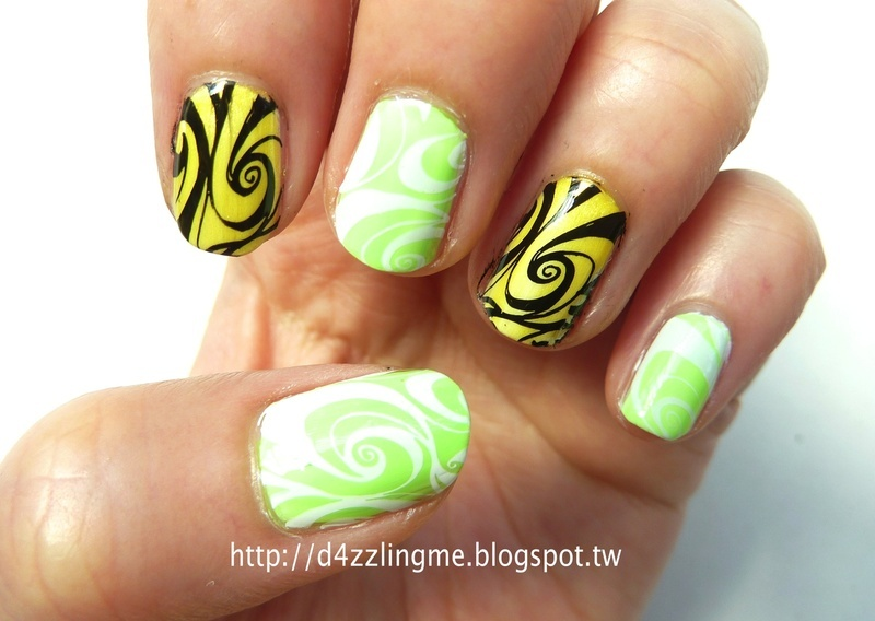 Neon Marble Nails  nail art by D4zzling Me