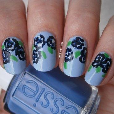 Blue essie roses nail art by Julia
