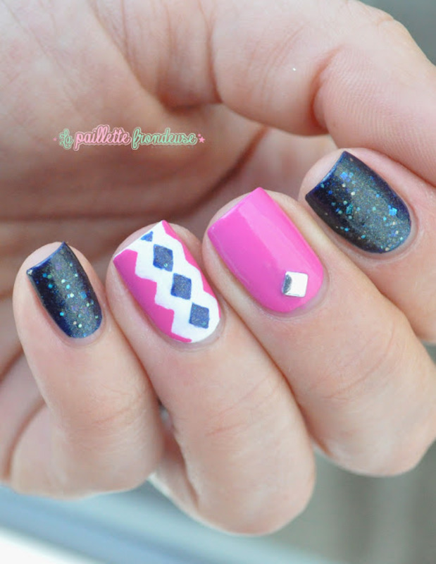 Pink and blue diamond nails nail art by nathalie lapaillettefrondeuse