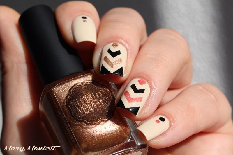 Chevrons nail art by Mary Monkett
