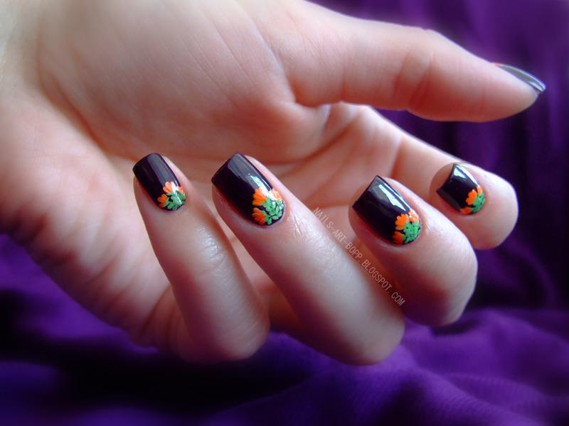 Floral chevron nail art by bopp