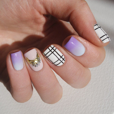 Plaid Gradient Mix and Match nail art by nagelfuchs