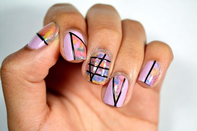 Watercolor nail art by Fatimah