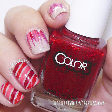 Waterfall & Stripes nail art by Jessi Brownie (Jessi)