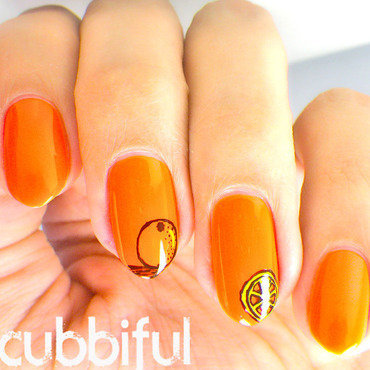 Orange Nail Art nail art by Cubbiful