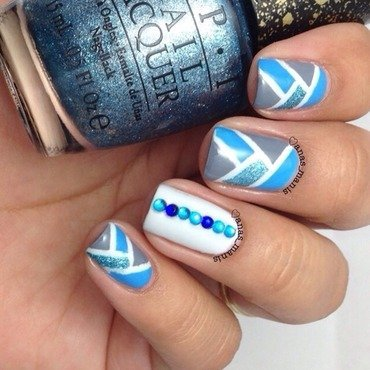 Blue Fishtail design nail art by anas_manis