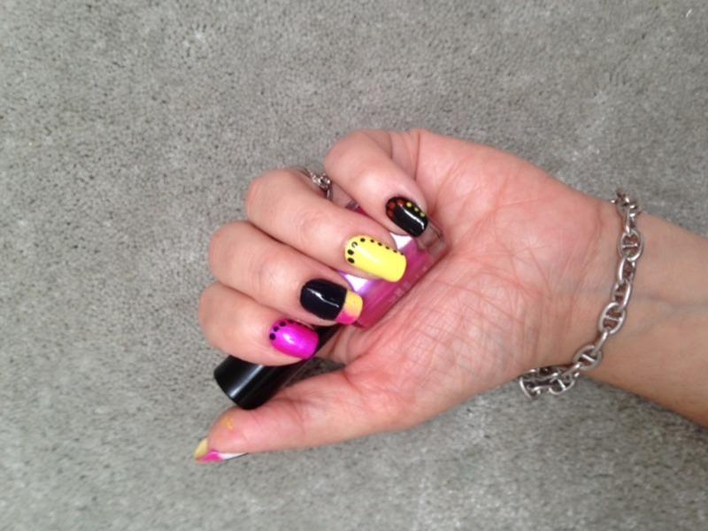 fun multicolor nail art by Eleadora