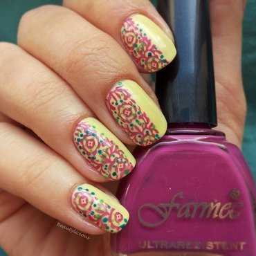 Color blocking stamping nail art by Roxy Ch