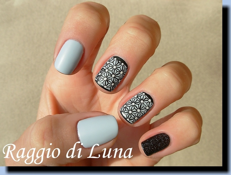 Asa No Ha pattern on light blue skittlette nail art by Tanja