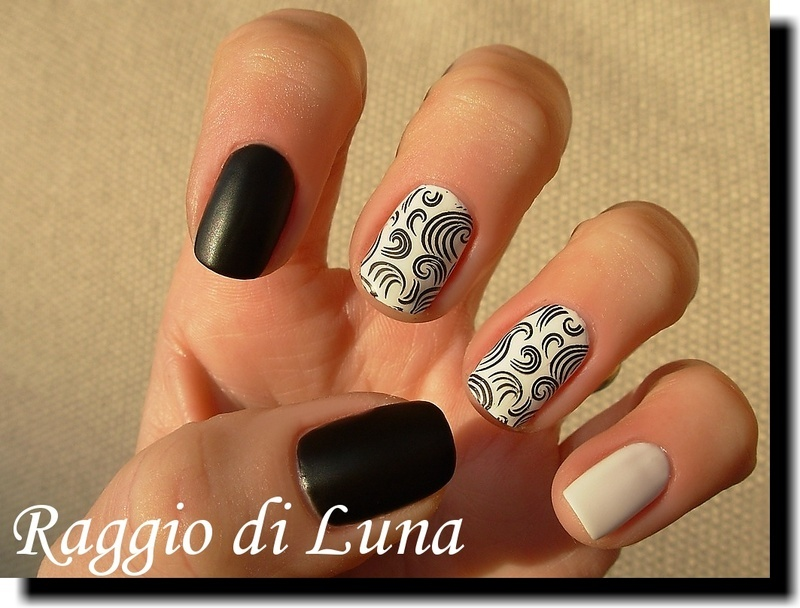 Stamping: Simple black curls on white nail art by Tanja