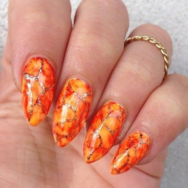 Lava nails done with sharpies  nail art by Henulle