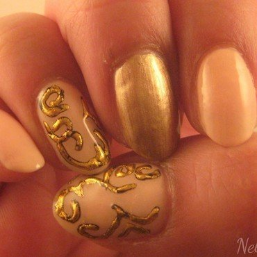 gold foil nail art by Nell_Q