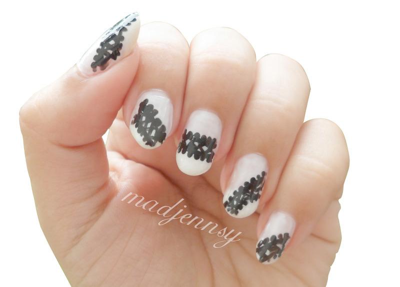 """Ariana Grande """"Love Me Harder"""" Inspired Nail Art  nail art by madjennsy Nail Art"""