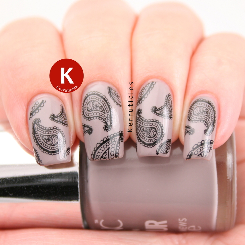 Taupe with paisley stamping nail art by Claire Kerr