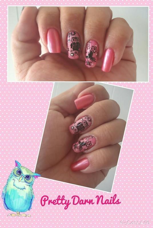 Girly Owl nail art by PrettyDarnNails