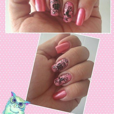 Girly Owl nail art by PrettyDarnNails
