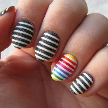 Rainbow stripes nail art by Nail Crazinesss