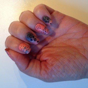 Ethnic salmon/grey nail art by Eleadora