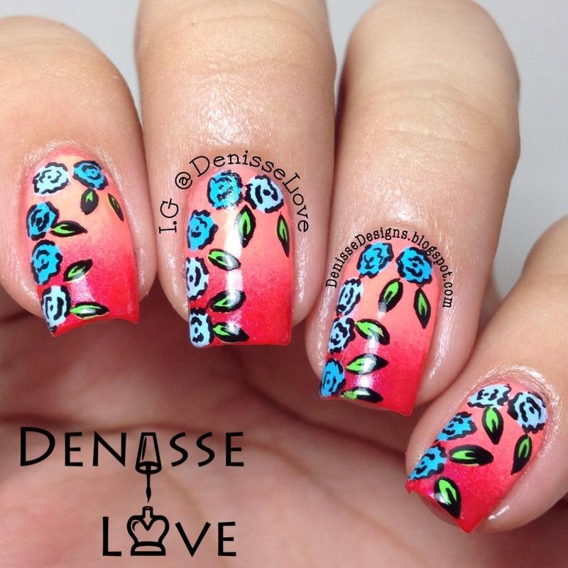 Neon flowers nail art by Denisse Love
