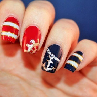 Nautical nail art by Jane