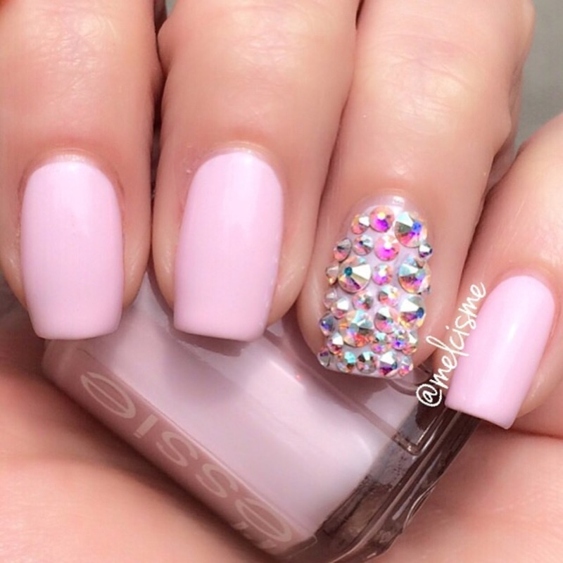 Pink bling  nail art by Melissa