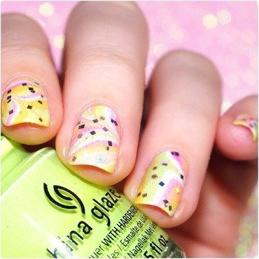 Summer Watermarble  nail art by Bulleuw