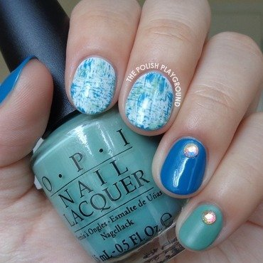 Blue and Green Brushstroke Nail Art with Rhinestones nail art by Lisa N
