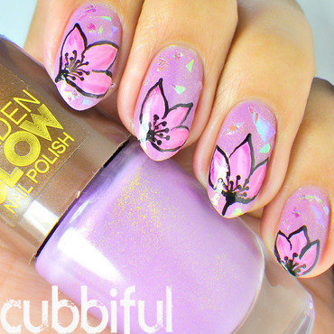 Lilac and pink floral nails thumb370f