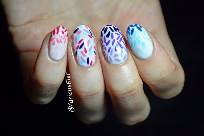 Confetti nail art by Furious Filer