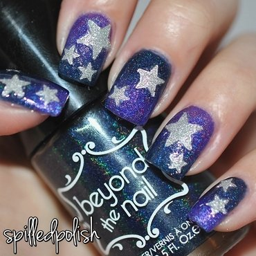 Glittery Stars nail art by Maddy S