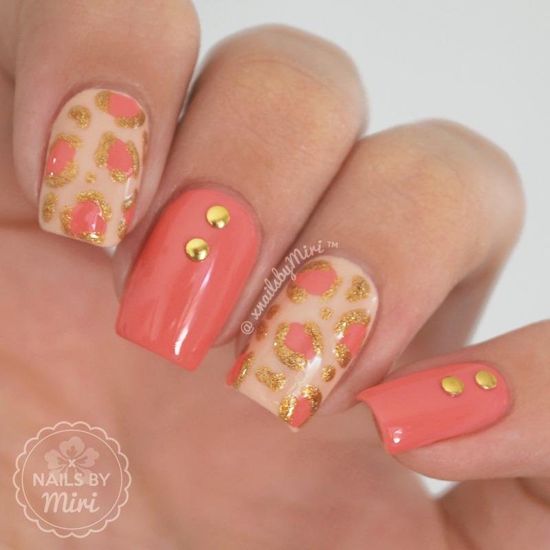 Coral Gold Leopard Print nail art by xNailsByMiri