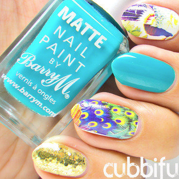 Peacock Skittle Nails nail art by Cubbiful