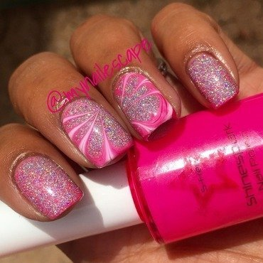 Neon Pink Water Marble over Holo nail art by Alayna  B