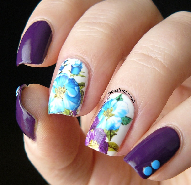 Pretty Purple Floral Water Decals Nails nail art by Born Pretty
