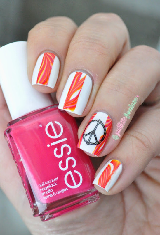 seventies hippie marble nail art by nathalie lapaillettefrondeuse