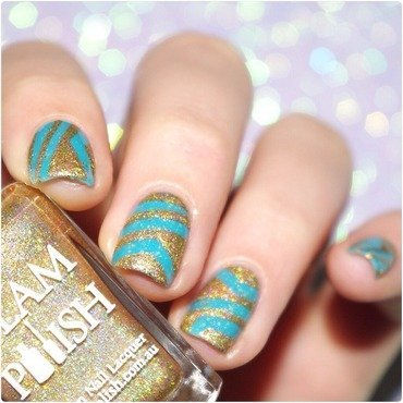 Turquoise and Gold ! nail art by Bulleuw